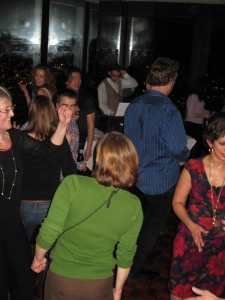 Carol Morton (far left) leads the dancing